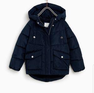 Zara dark blue girls puffer jacket size 10 to 12